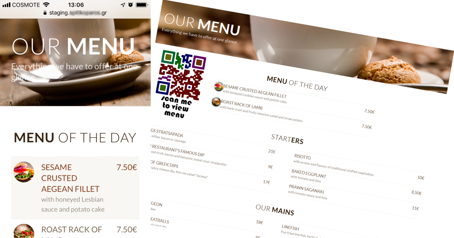 Touch less menu with QR code for restaurants & Cafés